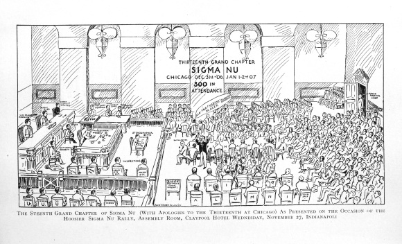 The 13th Grand Chapter as illustrated (humorously) in the February Delta in 1908.