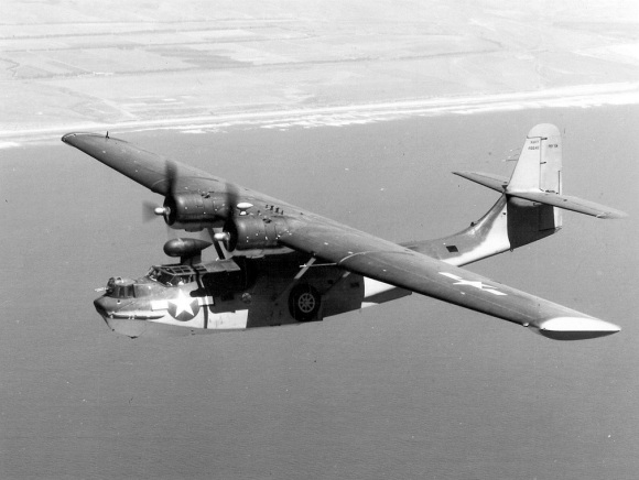 Consolidated_PBY-6A_Catalina_USN_in_flight_c1945_low res