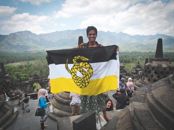 Brother Raja Naveen of the Univeristy of Illinois pictured at Boraburdur Temple in Indonesia. Boraburdur is a UNESCO World Heritage Site and one of Brother Naveen's travel destinations on his trip abroad to Malaysia, Thailand, and Indonesia.
