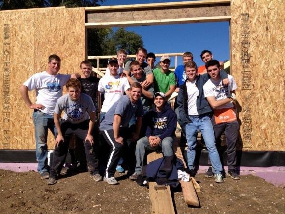 About 20 brothers from Nu Chapter recently took part in a construction project for Habitat for Humanity. On October 19, the brothers spent the day building a home for the less fortunate in Lawrence, Kan. For about a year, the chapter has been doing service work with Habitat for Humanity. The chapter hopes to make this an annual service event.