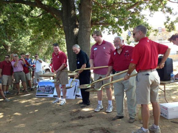 The Delta Epsilon Colony's recent groundbreaking at the site of their new chapter house. Pictured from left to right are: Brother Wes Graham; Brother Steve Newby; Commander Grady Cole, Brother Bill Townsend; and Brother Michael Grant.