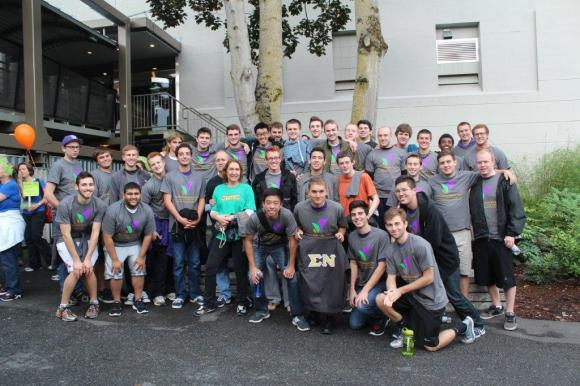 Brothers from the Gamma Chi Chapter participated in the Seattle Brain Cancer Walk in September. The chapter brothers walk in the event ever year to honor the memory of Brother Colin Carty who passed away from brain cancer in 2008 at the age of 22. This year, the chapter was joined by Colin's parents. Both parents walked the event wearing some of Colin's old Sigma Nu attire from his days in the chapter.