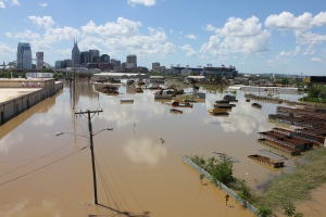 Nashville during the 2010 Cumberland River flood. Photo courtesy of Kaldari via the Wikimedia Commons.