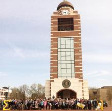 The participants of Nu Alpha's St. Jude Breakaway 5k pictured on the campus at Arkansas Ft. Smith.