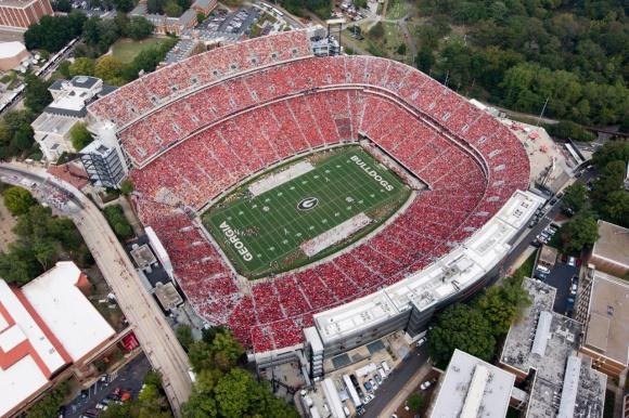 University of Georgia's Sanford Stadium, where Schlabach got his start as a journalist covering UGA football for The Red and Black student newspaper.