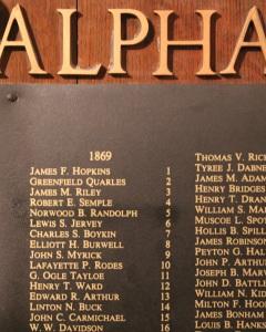 Alpha chapter listing