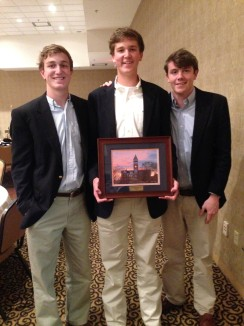 Theta Zeta Brothers Curtis Wallin, Kyle Kennedy, and Matthew Corbett at last spring's IFC awards banquet.