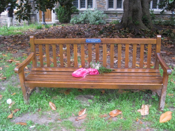 "A bench on the Duke campus in memory of Chris ""Stewie"" Sanders."