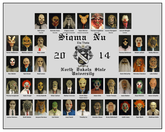 Eta Theta brothers made a special composite with their haunted house costumes and masks. The haunted house philanthropy put on by the brothers raised $2,811 for the American Heart Association.