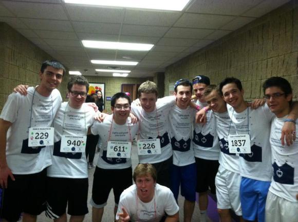 Brothers of Gamma Beta participating in Northwestern's Dance Marathon in 2013.