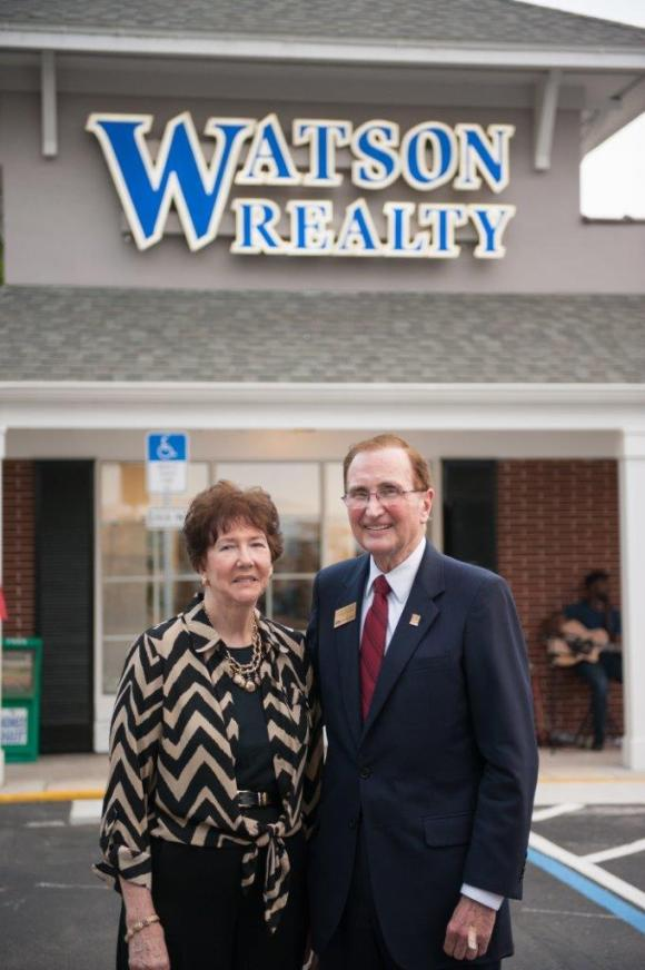 Bill Watson with his wife, Janelle, at the opening of Watson Realty Corp.'s new office in Mount Dora, Fla.