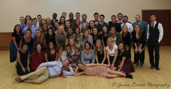 The brothers of Theta Nu Chapter and the women of Delta Zeta after a ballroom dance social. Photo courtesy of Jessica Linnea.
