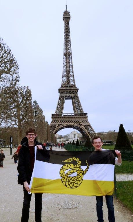 Brothers Andrew Moorhead and Justin Asher in Paris while studying abroad.