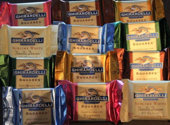 Selection of Ghirardelli chocolates