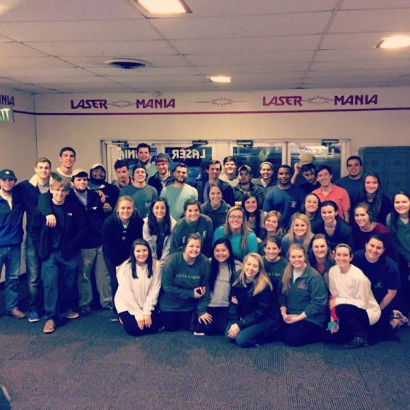 Brothers of Theta Gamma with the women of Delta Gamma at Southern Mississippi after a laser tag social event.