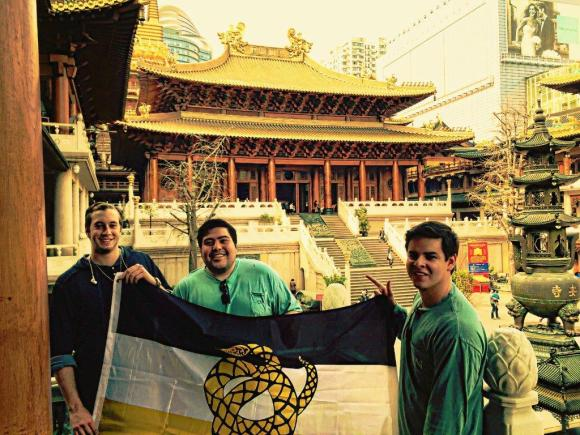 Brothers of Zeta Pi visiting Jing'an Temple in Shanghai, China, for spring break.