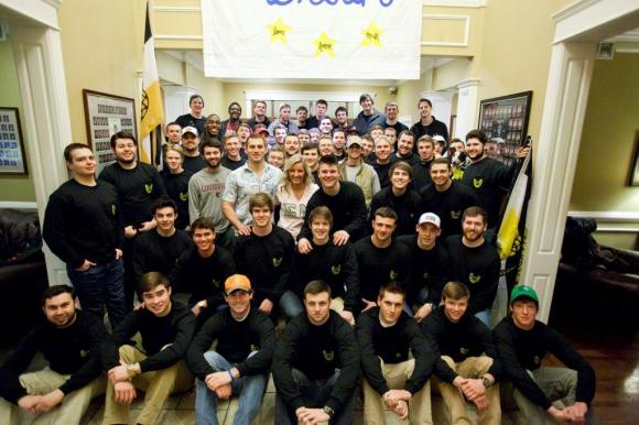 Eta Rho's spring candidate class (seated, front) with members of the chapter (standing).